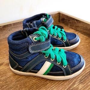 BETTS Kids Hi Top Sneaker Boots (size9) Blue Green